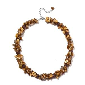NWT Brown Shell, Faceted Beads Necklace (20-23 in)